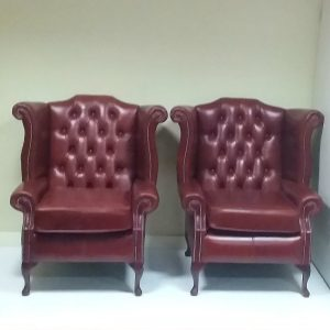 Antique -Style - Pair- of- Wingback- Armchairs