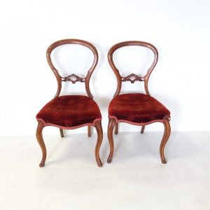 Antique- Pair- Of- Victorian- Walnut- Chairs