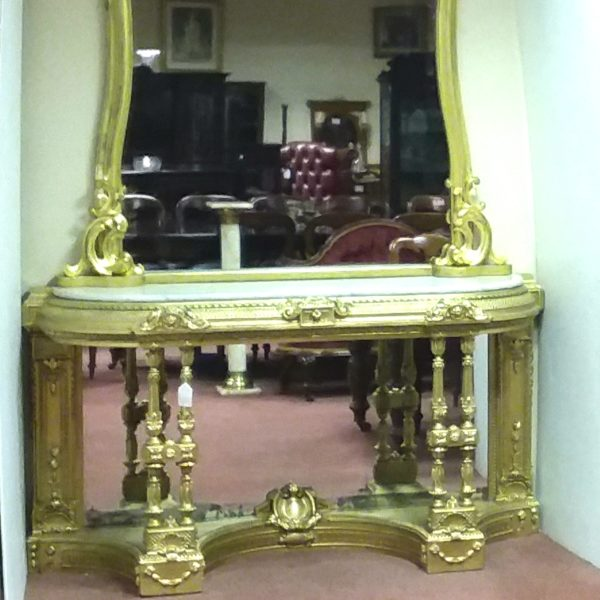 Antique 19th Century Irish Console Table &  Gilt Mirror