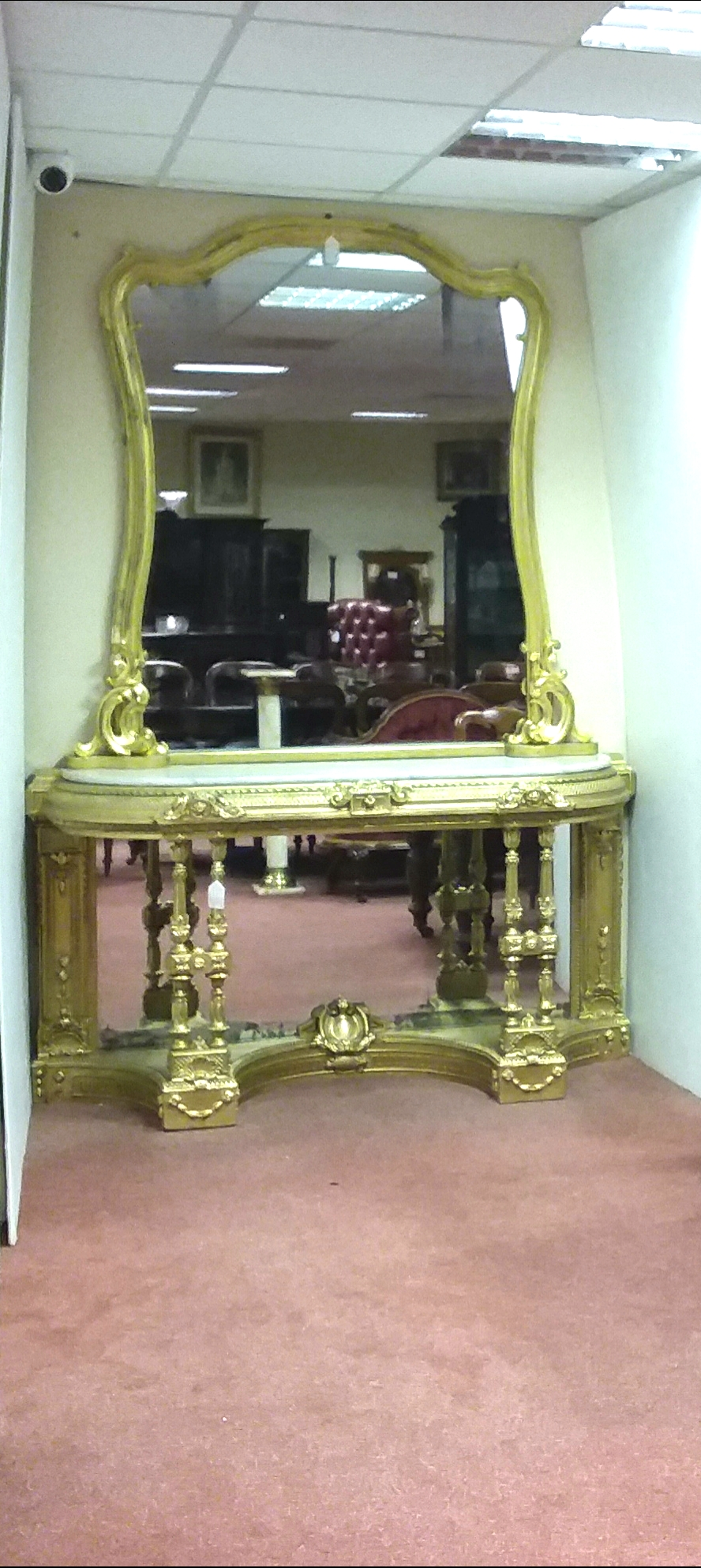 Antique 19th Century Irish Console Table & GiltMirror