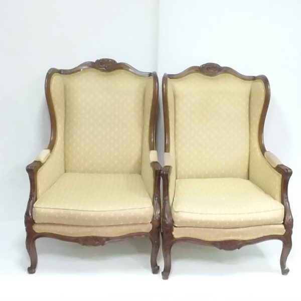 Antique Style Pair of Wingback  Armchairs