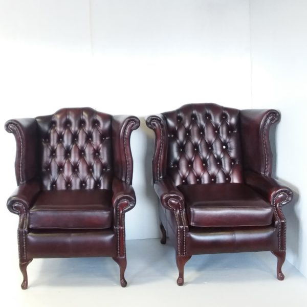 Antique Style Leather Pair of Wingback Armchairs