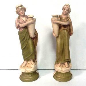 Pair Of Royal Dux Figures Dimensions 18cm H
