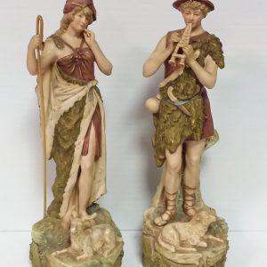 Ms16111 Pair Of Royal Dux Figures Shepherd And Shepherdess