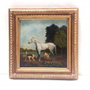 ms 16083 Oil On Canvas Horse And Hound In Gilt Frame