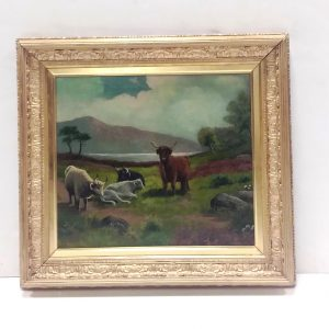 ms 16071 Oil On Canvas Highland Cattle By F Parker
