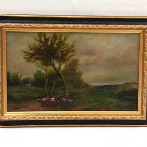 ms 16079 Framed Oil On Canvas Herding The Cattle