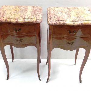 ms 15763 Pair Of Inlaid Kingwood Marble Top Nights Stands