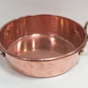 Antique Georgian Copper- Pa-n With- Brass- Handles