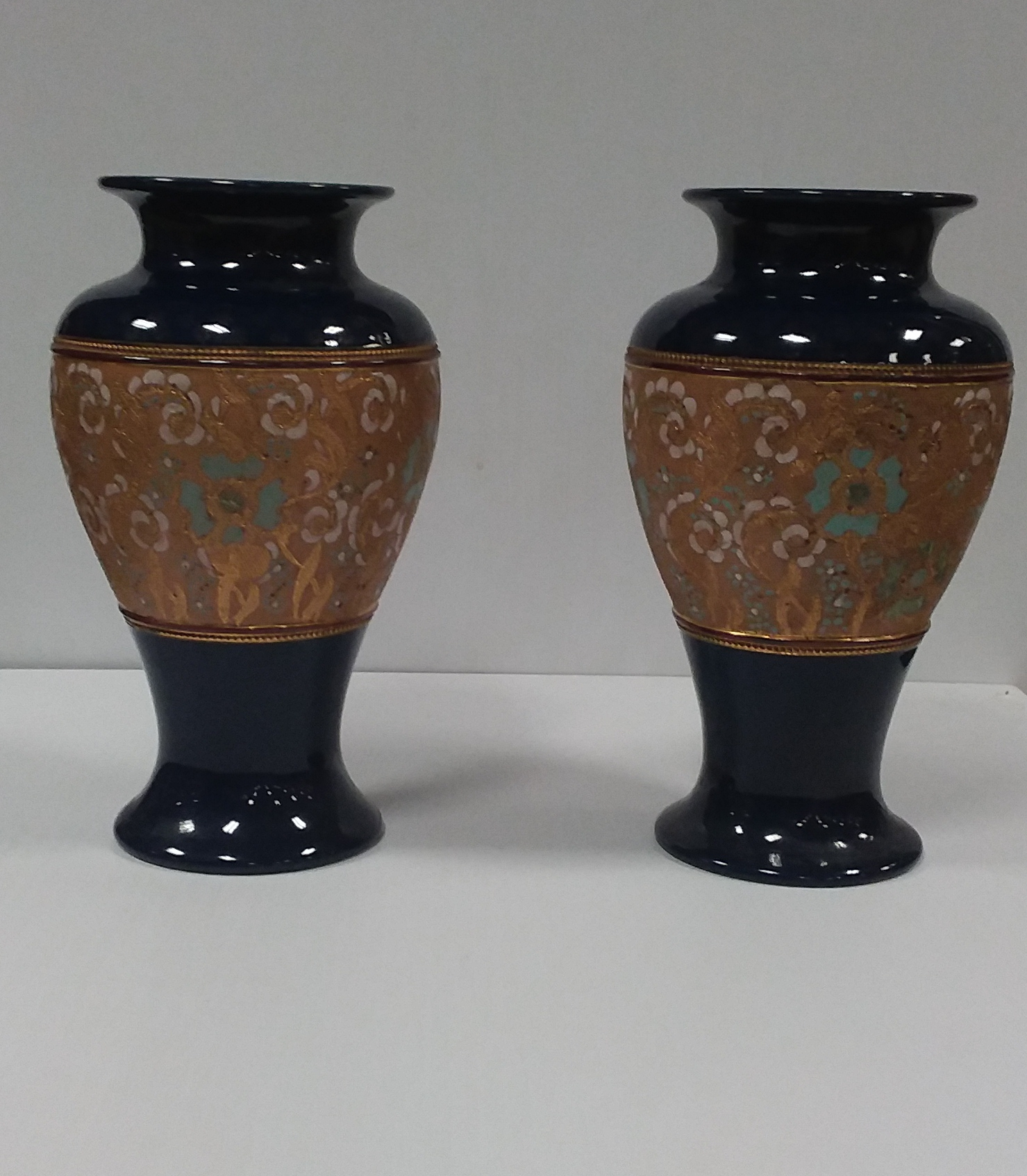Antique Victorian Royal Doulton Slater Vases