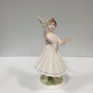 Royal Worcester Figure of a Girl & Bird