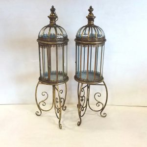 Antique Style Pair of Brass Lanterns