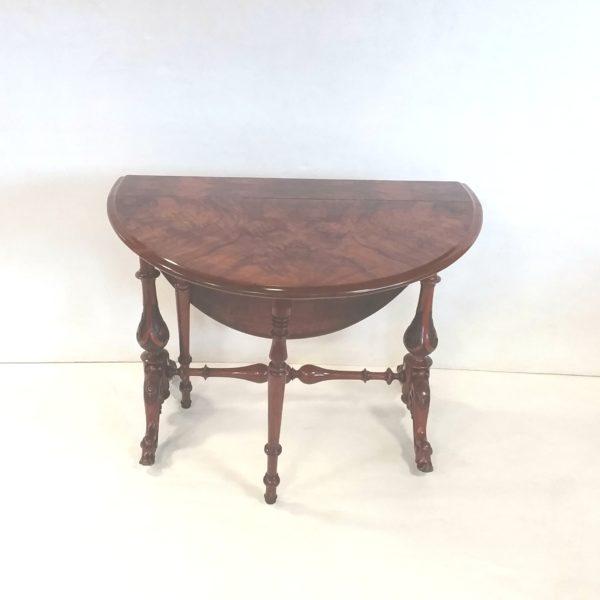 Antique Victorian Burr Walnut D-End Sutherland Table
