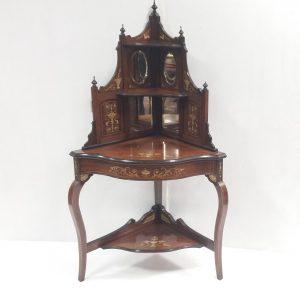 Antique- Victorian- inlaid -rosewood -corner -Cabinet