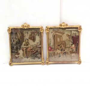 Antique Pair of 19th Century Gilt Framed Tapestry