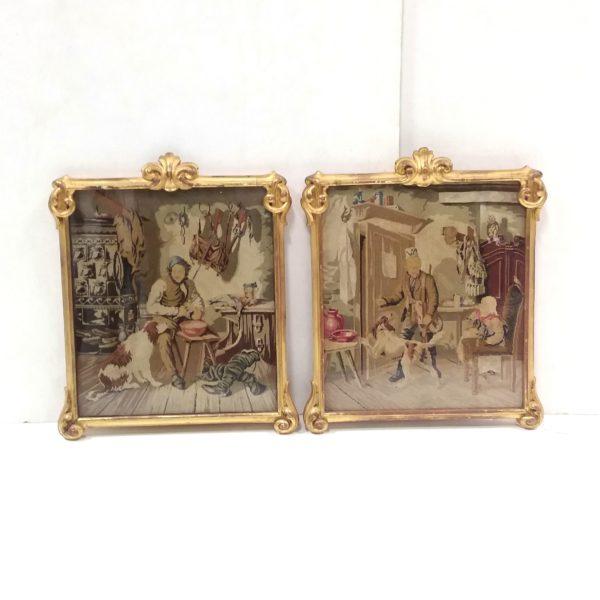 Antique Pair of 19th Century Gilt Framed Tapestry