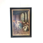 Antique Oil on Canvas 'The Milkmaid'