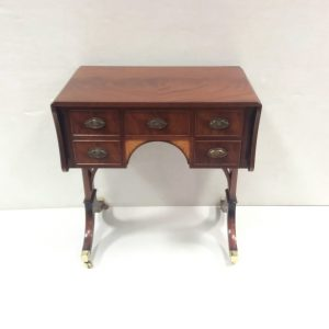 inlaid mahogany minature sofa table