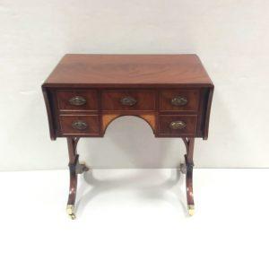 inlaid mahogany minature sofa table