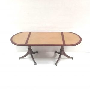 Leather top oval coffee table
