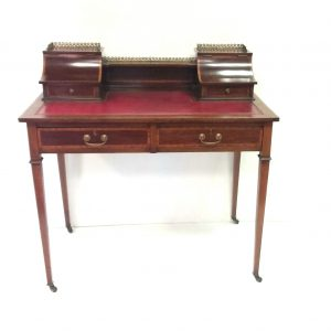 Edwardian mahogany inlaid leather top writing desk by maple and co  €1195