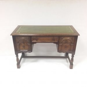 Oak Carved Leather Top Desk