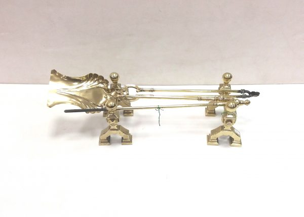 Antique Victorian Brass Dogs & Irons