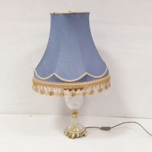 Brass & Crystal Bulbous Lamp with Shade