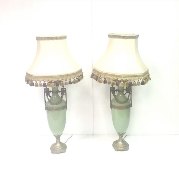 Pair of Ceramic & Brass Lamps