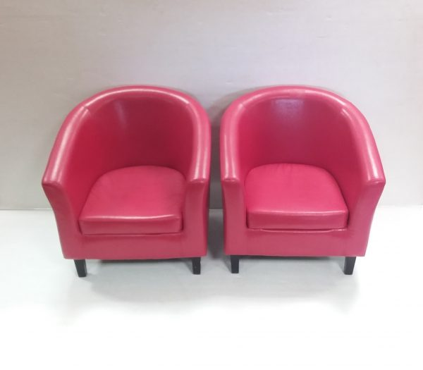 Pair of Leather Tub Chairs