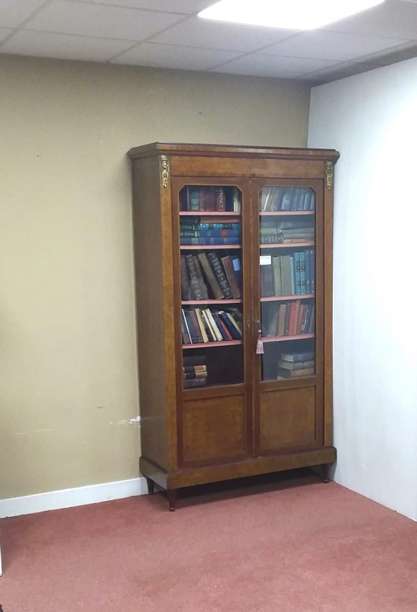 French Burr Walnut Bookcase