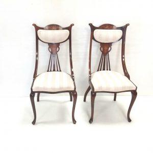 Pair-Of-Mahogany- Art- Noveau- Carver- Chairs