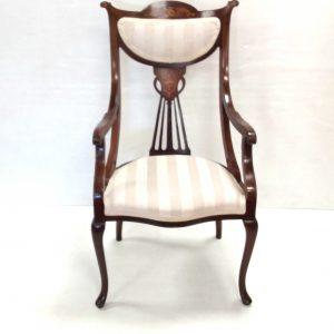Mahogany- Art- Noveau- Carver- Chair