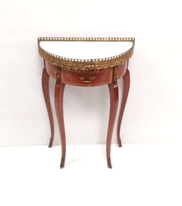 Antique style French inlaid kingwood Miniature Demi Lume Table