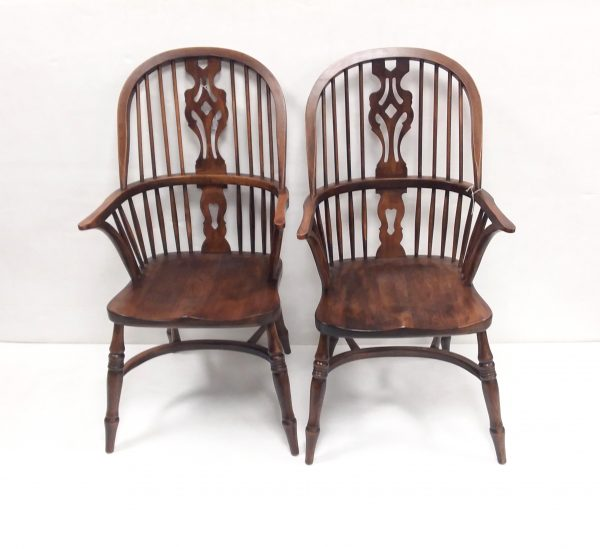 Antique Style Pair- Of- Ash- Windsor- Chairs