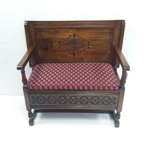 Antique- Style- Oak- Monks- Bench