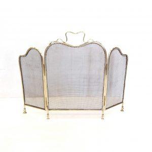 Antique Victorian Brass 3 Fold Spark Guard
