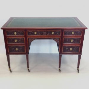 late Victorian inlaid leather top desk