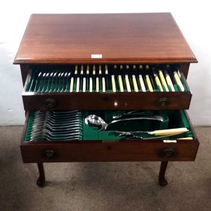 Edw Mahogany Cased Canteen of Cutlery