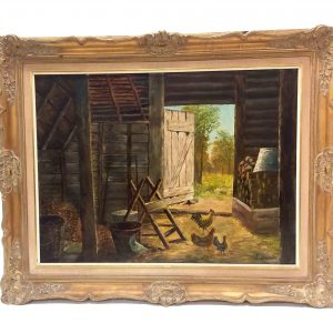 Gilt Framed Oil on Canvas Signed J Leivnis