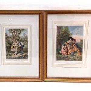 Antique Pair of Edwardian Gilt Framed Prints
