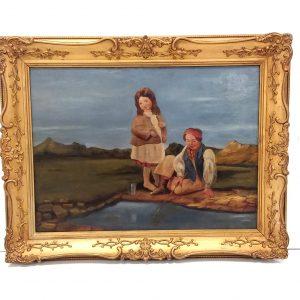 Oil- on -Board- Gilt- Framed- Girl -&- Boy- Fishing