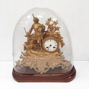 Antique Victorian Gilt Spelter Clock in Dome