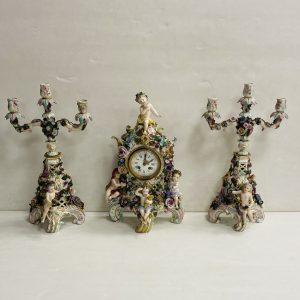 Victorian 3Piece Meissen Clock Set