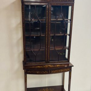 Edwardian Marquetry Inlaid Silver Cabinet